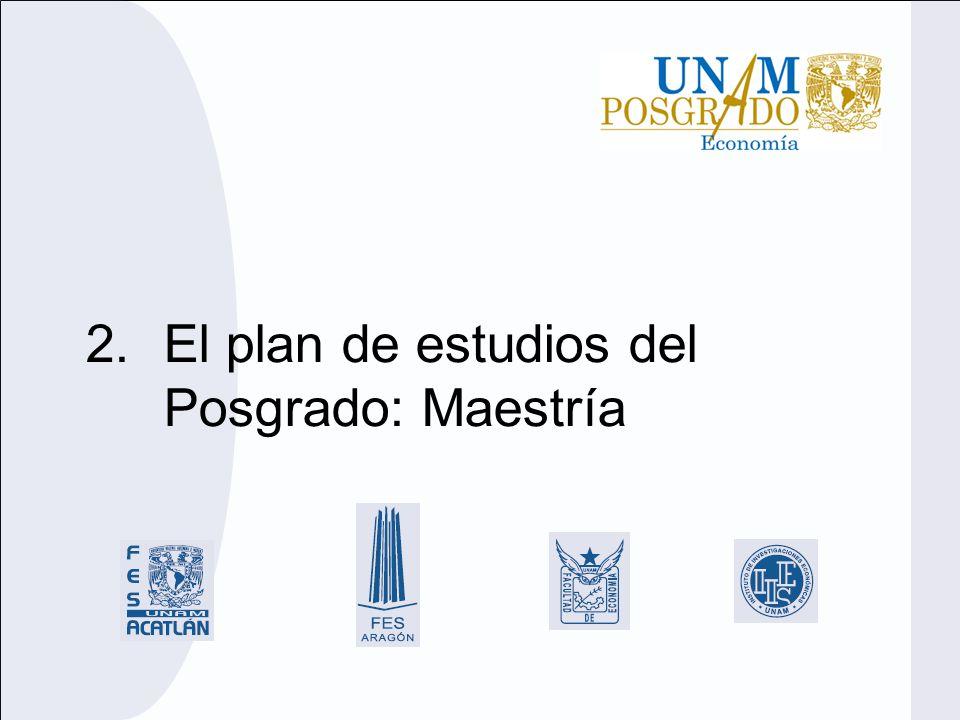 El plan de estudios del Posgrado: Maestría