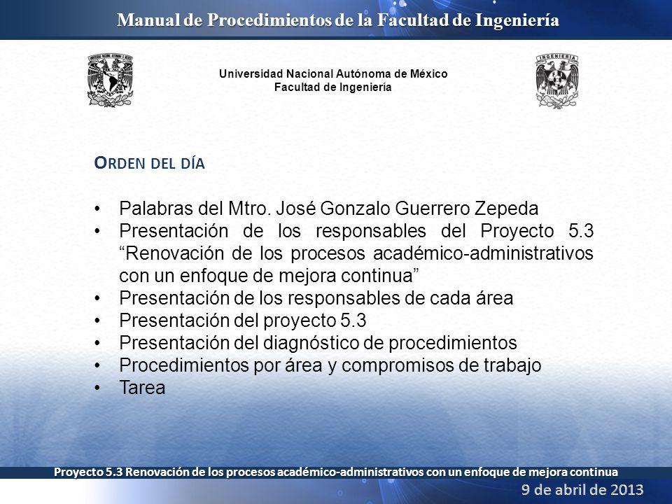 Orden del día Palabras del Mtro. José Gonzalo Guerrero Zepeda