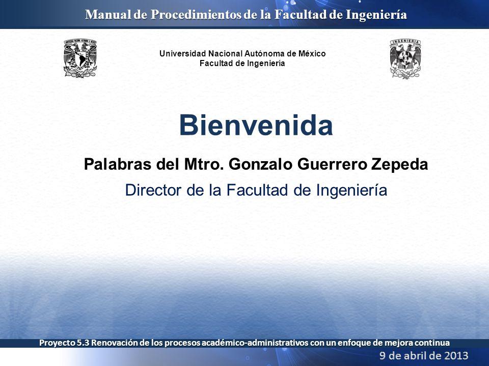 Palabras del Mtro. Gonzalo Guerrero Zepeda