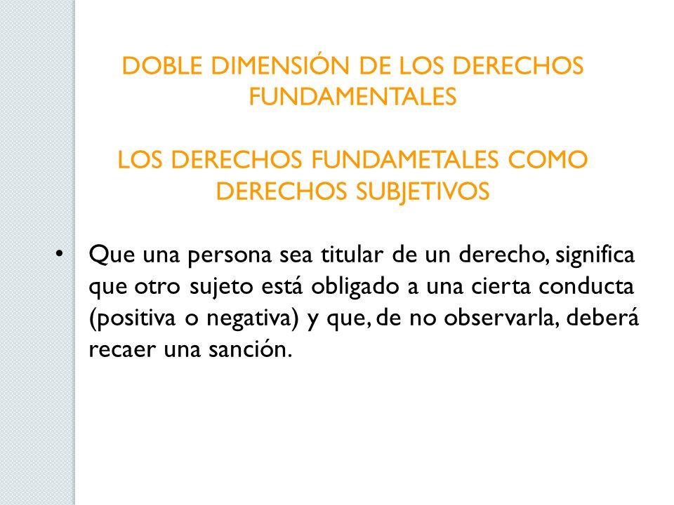 DOBLE DIMENSIÓN DE LOS DERECHOS FUNDAMENTALES