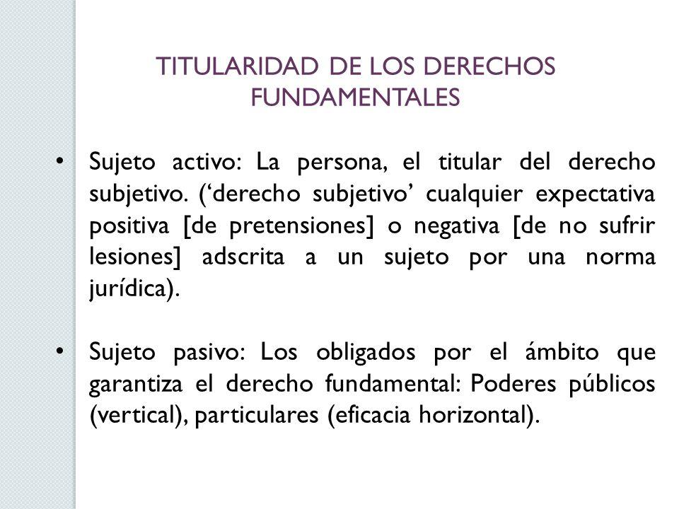 TITULARIDAD DE LOS DERECHOS FUNDAMENTALES