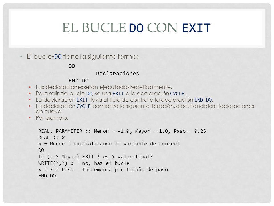 El bucle Do con EXIT El bucle-DO tiene la siguiente forma: DO