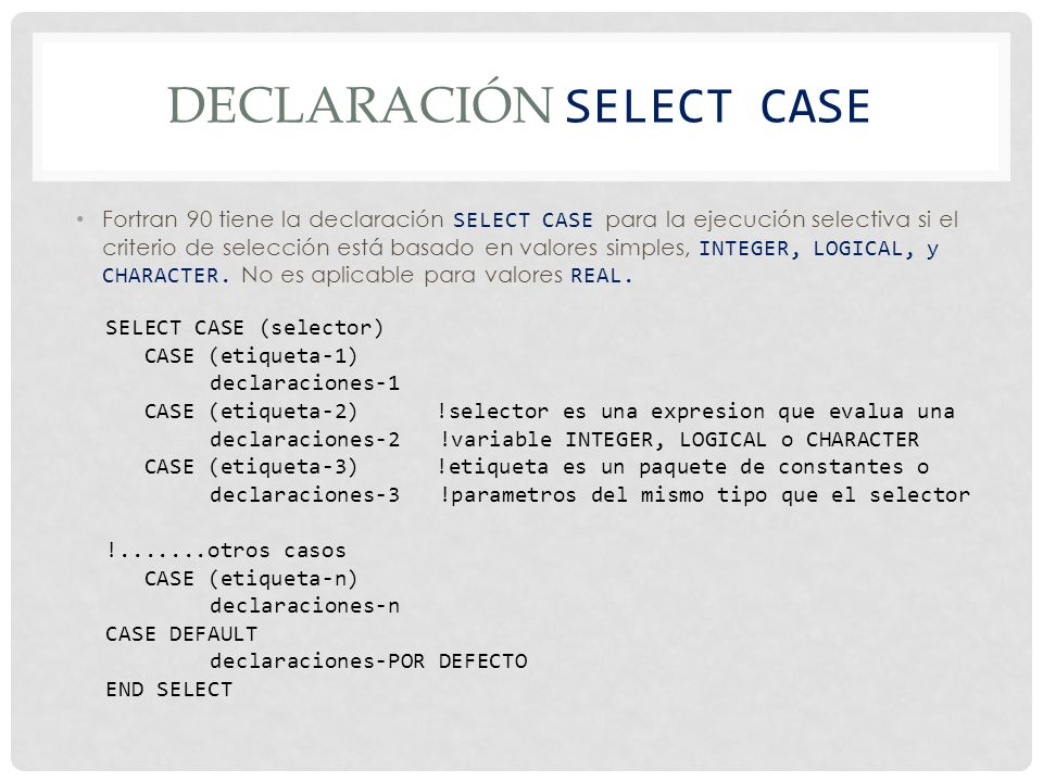 Declaración SELECT CASE