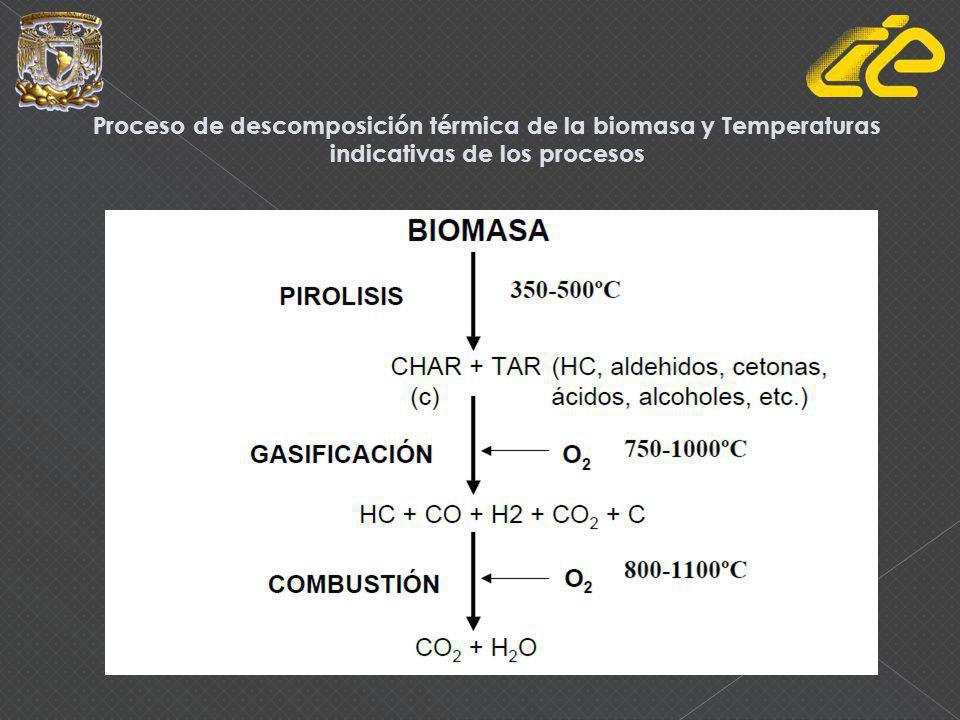 Proceso de descomposición térmica de la biomasa y Temperaturas indicativas de los procesos