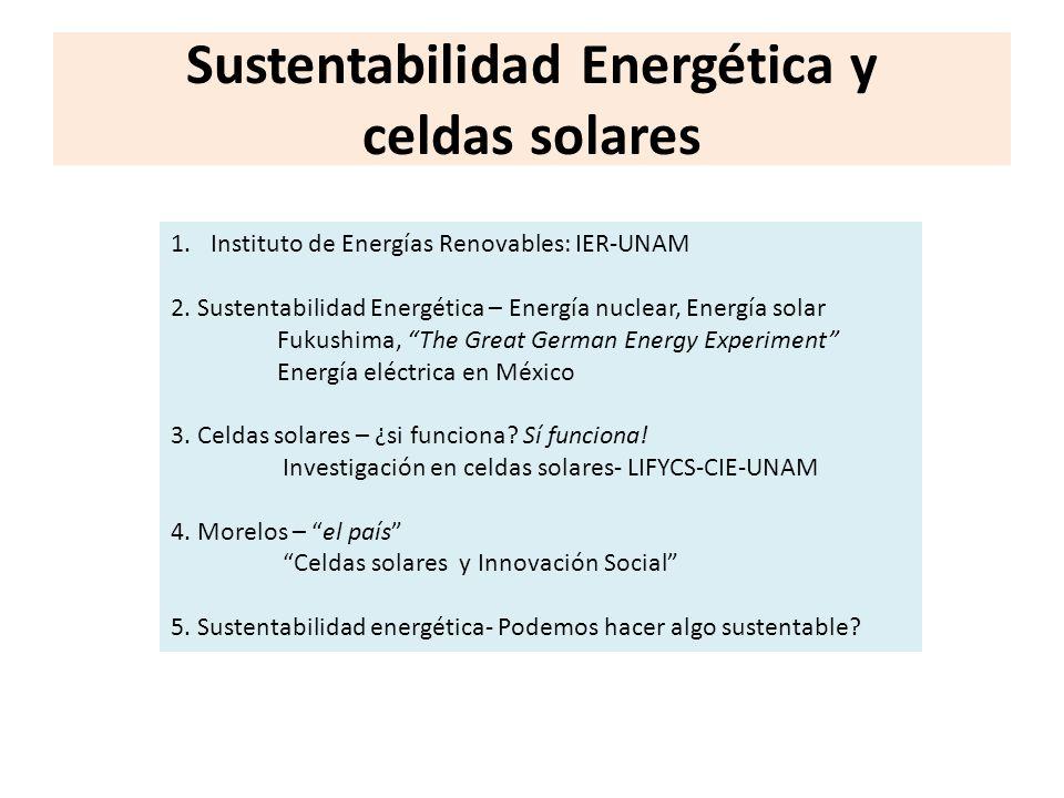 Sustentabilidad Energética y celdas solares