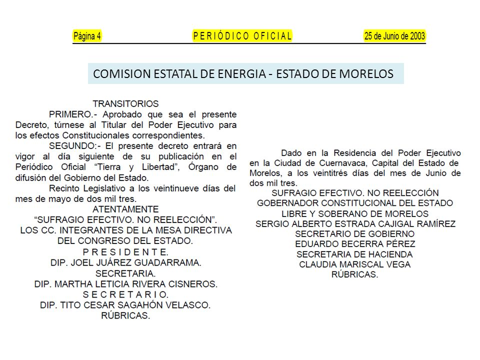 COMISION ESTATAL DE ENERGIA - ESTADO DE MORELOS