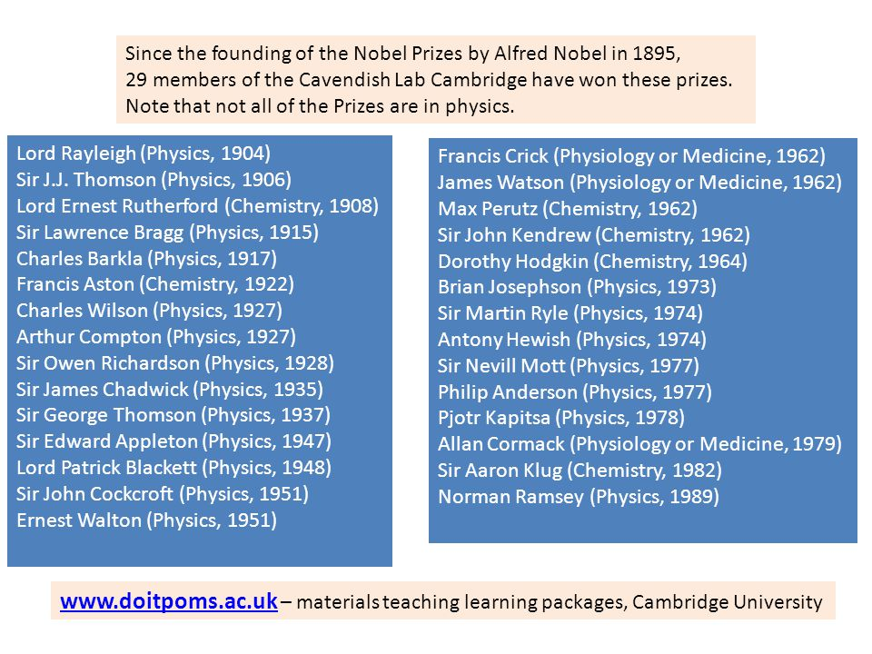 Since the founding of the Nobel Prizes by Alfred Nobel in 1895,