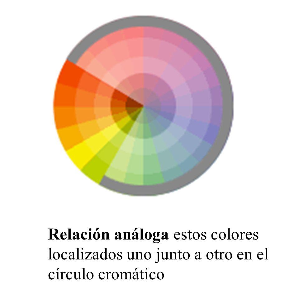 Relación análoga estos colores localizados uno junto a otro en el círculo cromático