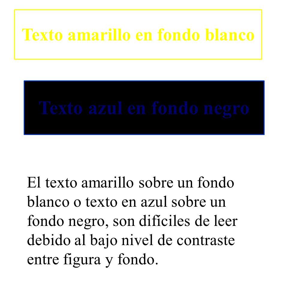 Texto amarillo en fondo blanco