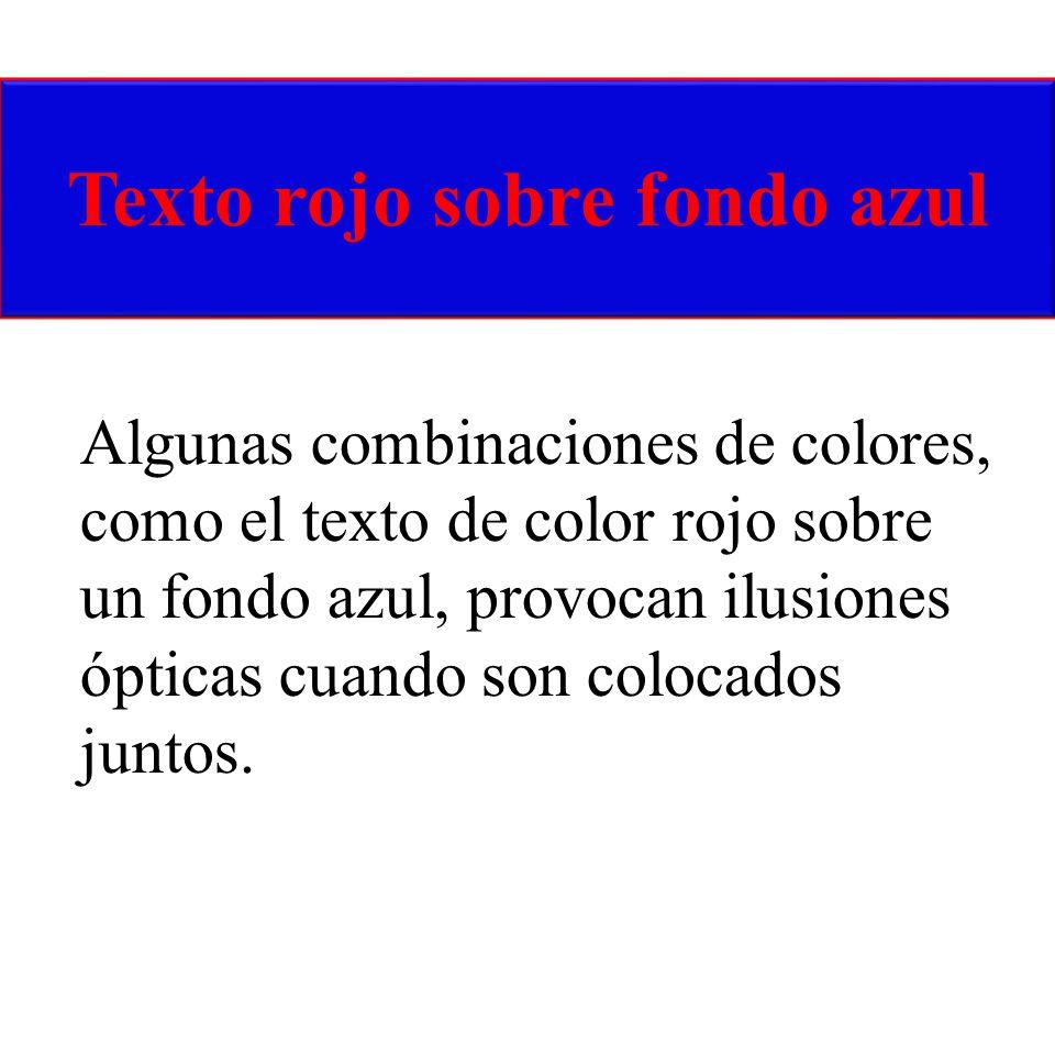 Texto rojo sobre fondo azul