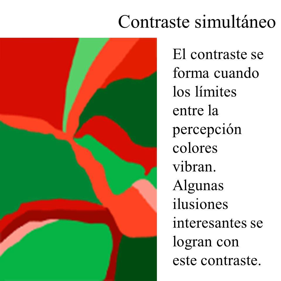 El contraste se forma cuando los límites entre la percepción colores vibran. Algunas ilusiones interesantes se logran con este contraste.
