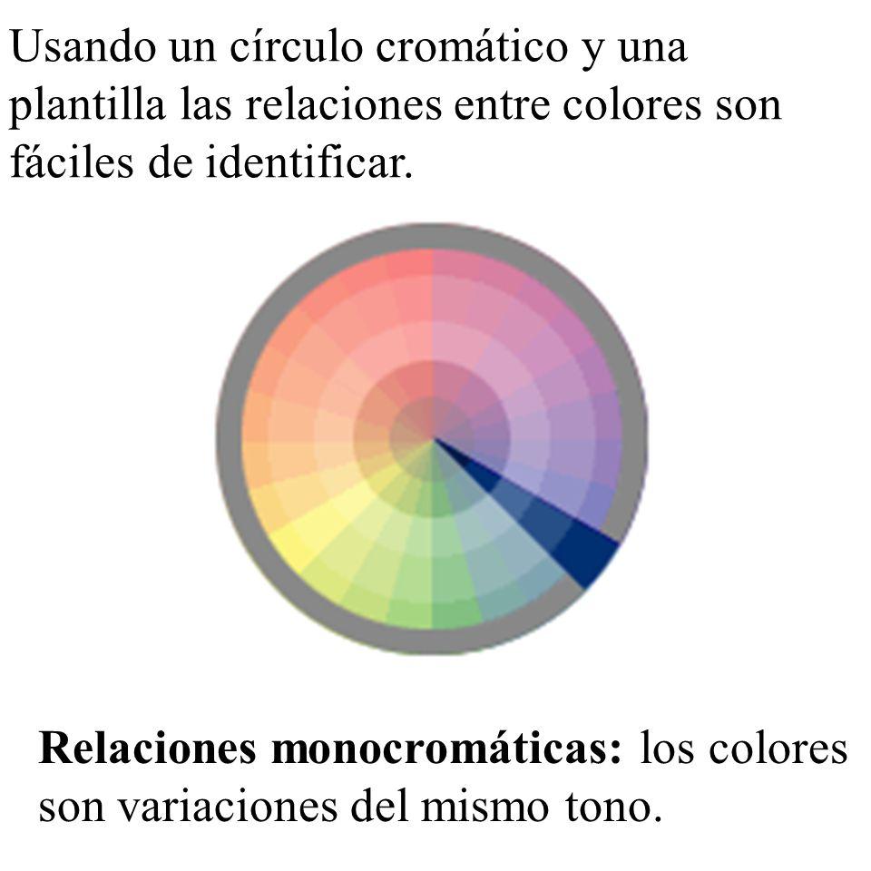 Usando un círculo cromático y una plantilla las relaciones entre colores son fáciles de identificar.