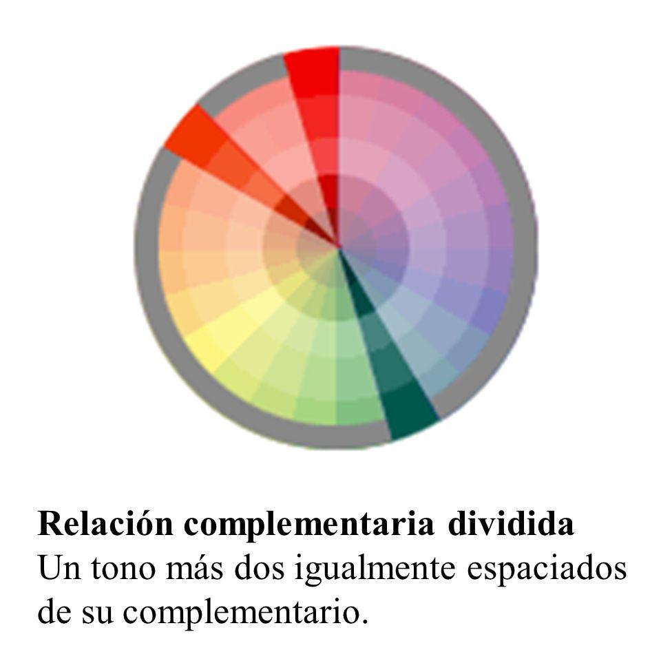 Relación complementaria dividida Un tono más dos igualmente espaciados de su complementario.