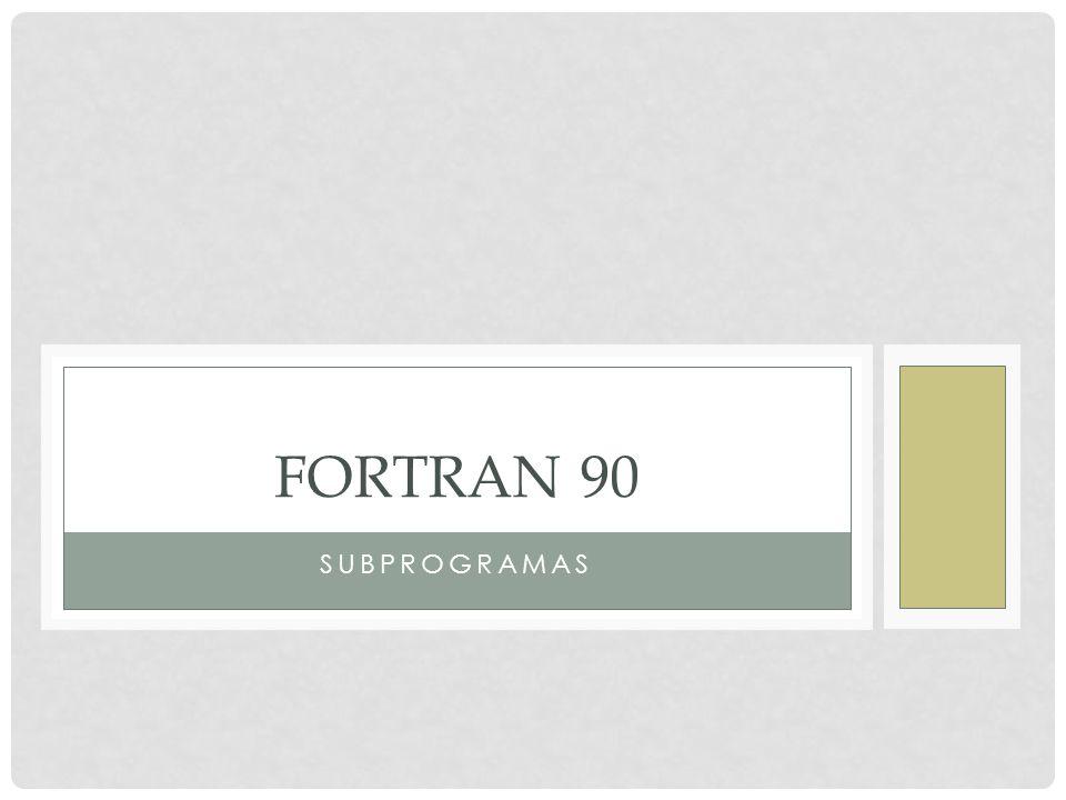 FORTRAN 90 Subprogramas