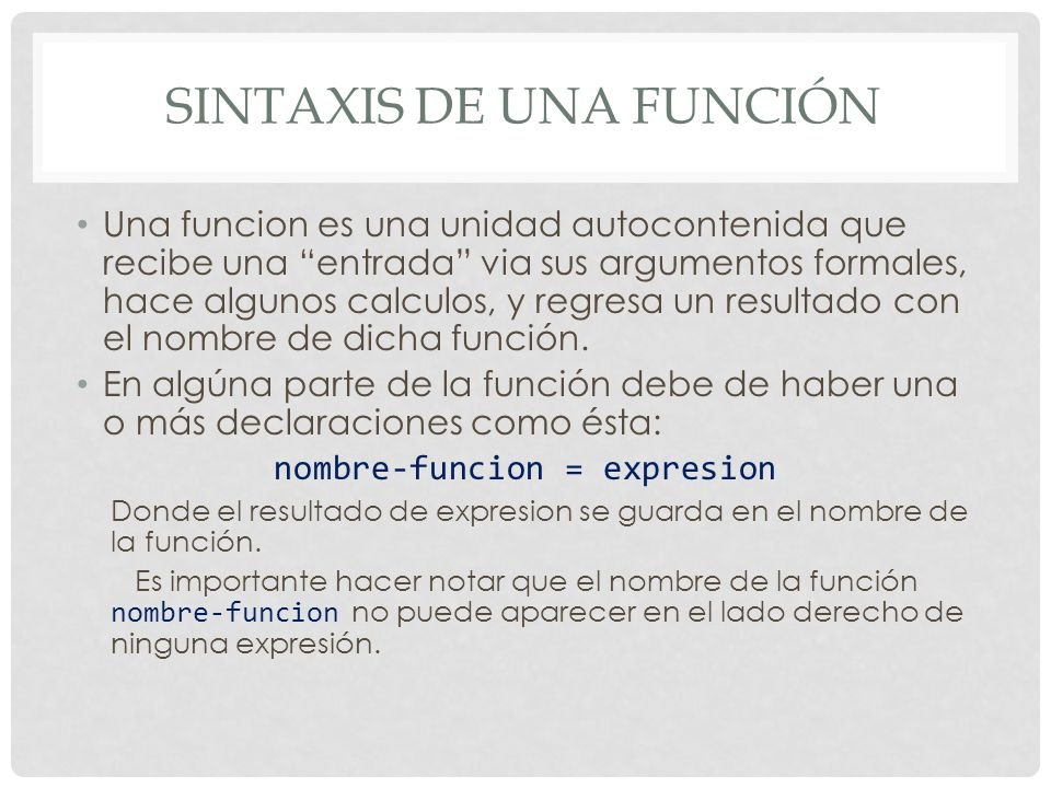 Sintaxis de una función