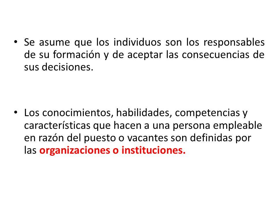 Se asume que los individuos son los responsables de su formación y de aceptar las consecuencias de sus decisiones.