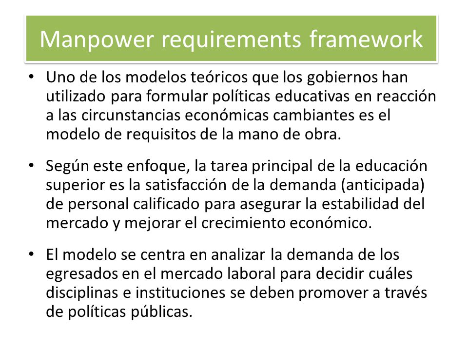 Manpower requirements framework