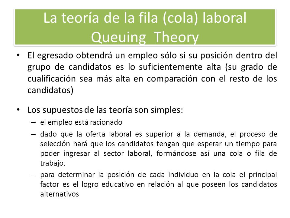 La teoría de la fila (cola) laboral Queuing Theory