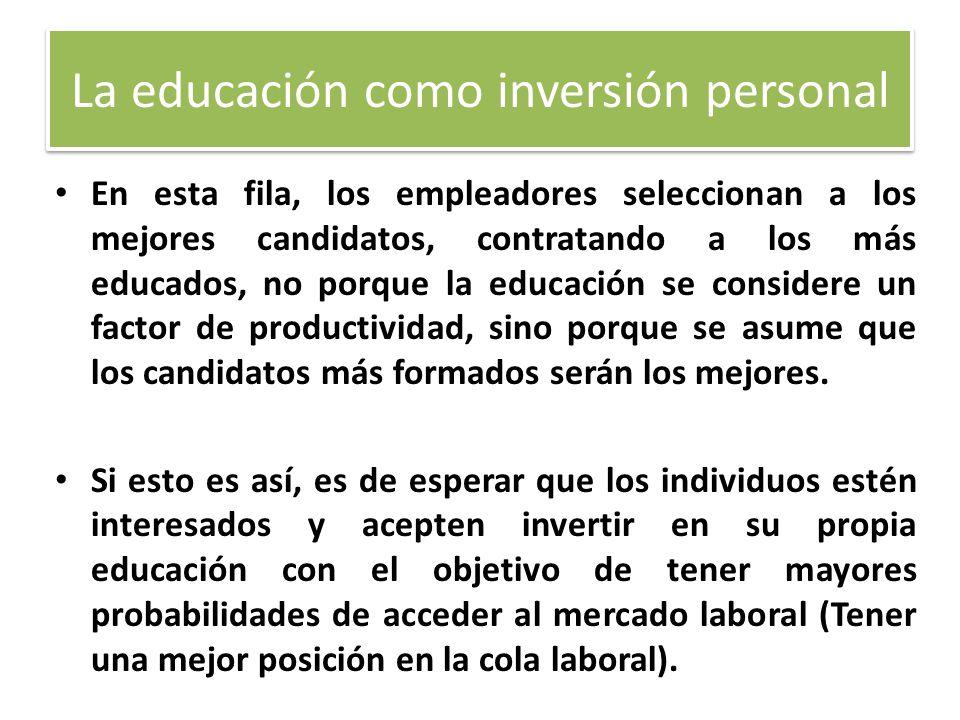 La educación como inversión personal