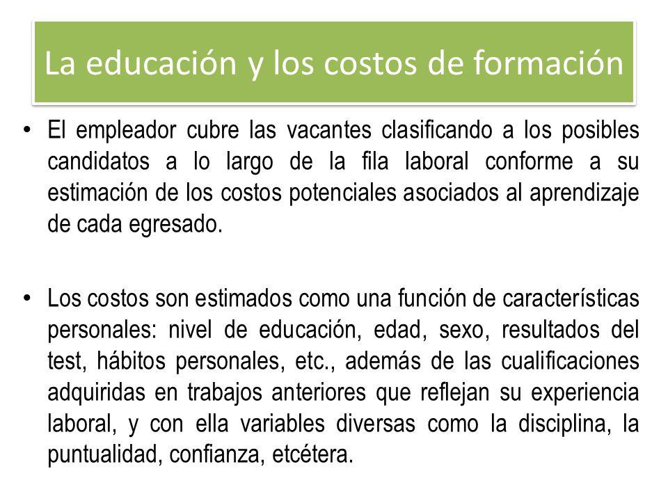 La educación y los costos de formación