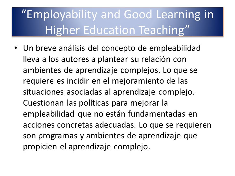 Employability and Good Learning in Higher Education Teaching