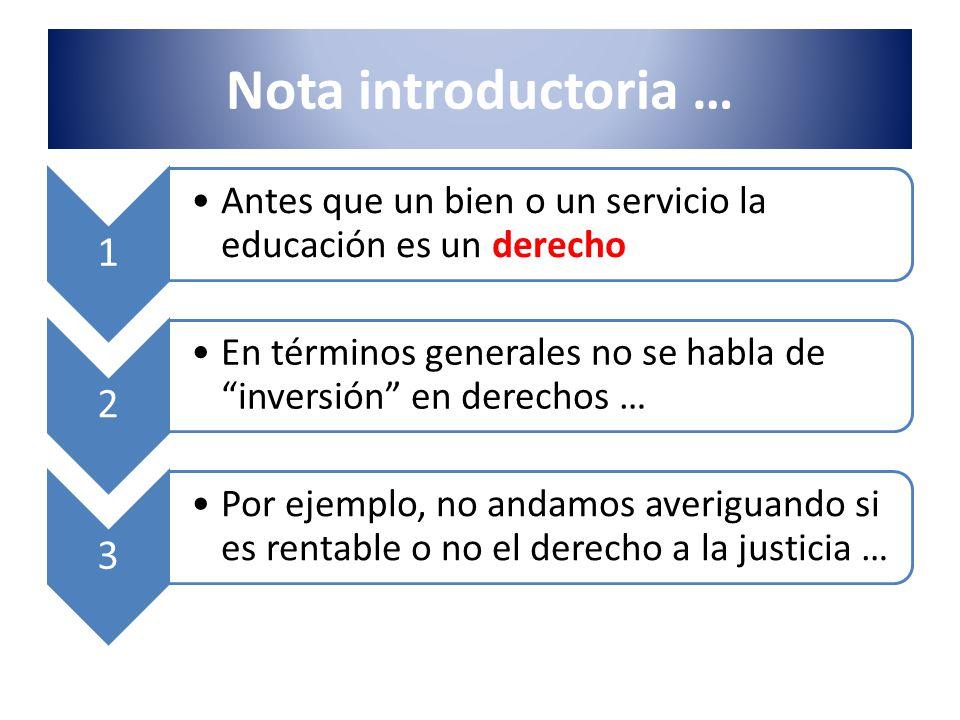 Nota introductoria … 1. Antes que un bien o un servicio la educación es un derecho. 2.