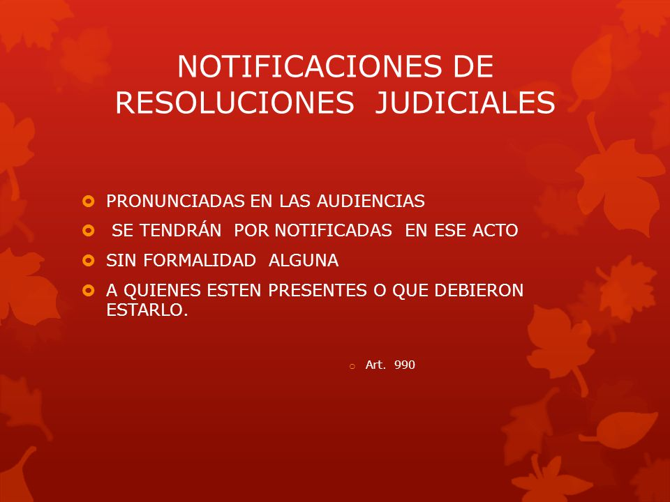 NOTIFICACIONES DE RESOLUCIONES JUDICIALES