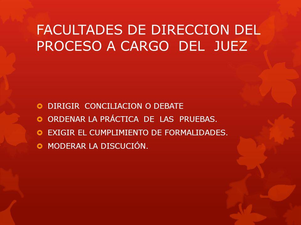 FACULTADES DE DIRECCION DEL PROCESO A CARGO DEL JUEZ