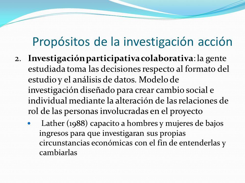 Propósitos de la investigación acción