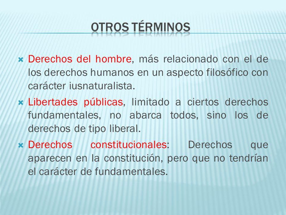 Otros términos Derechos del hombre, más relacionado con el de los derechos humanos en un aspecto filosófico con carácter iusnaturalista.