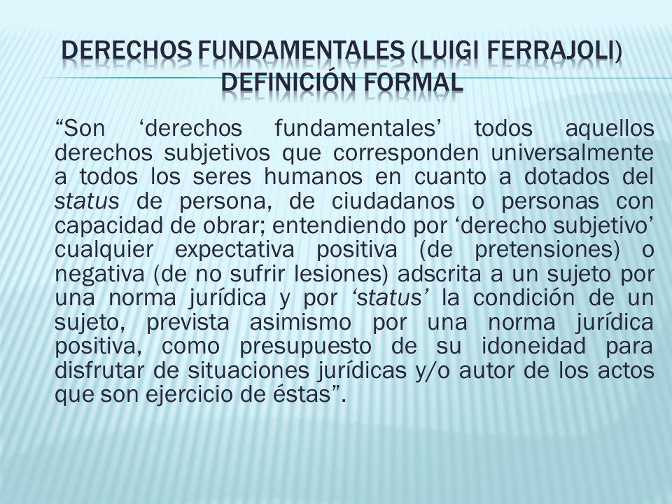 Derechos fundamentales (Luigi Ferrajoli) Definición formal