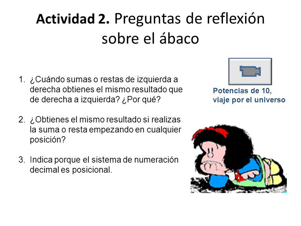 Actividad 2. Preguntas de reflexión sobre el ábaco