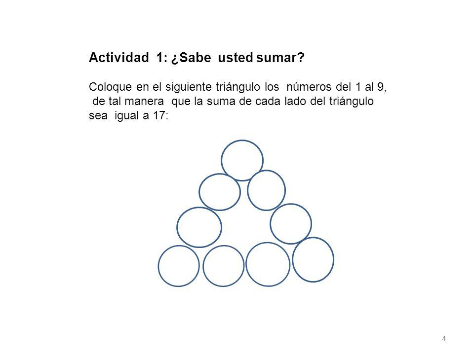 Actividad 1: ¿Sabe usted sumar