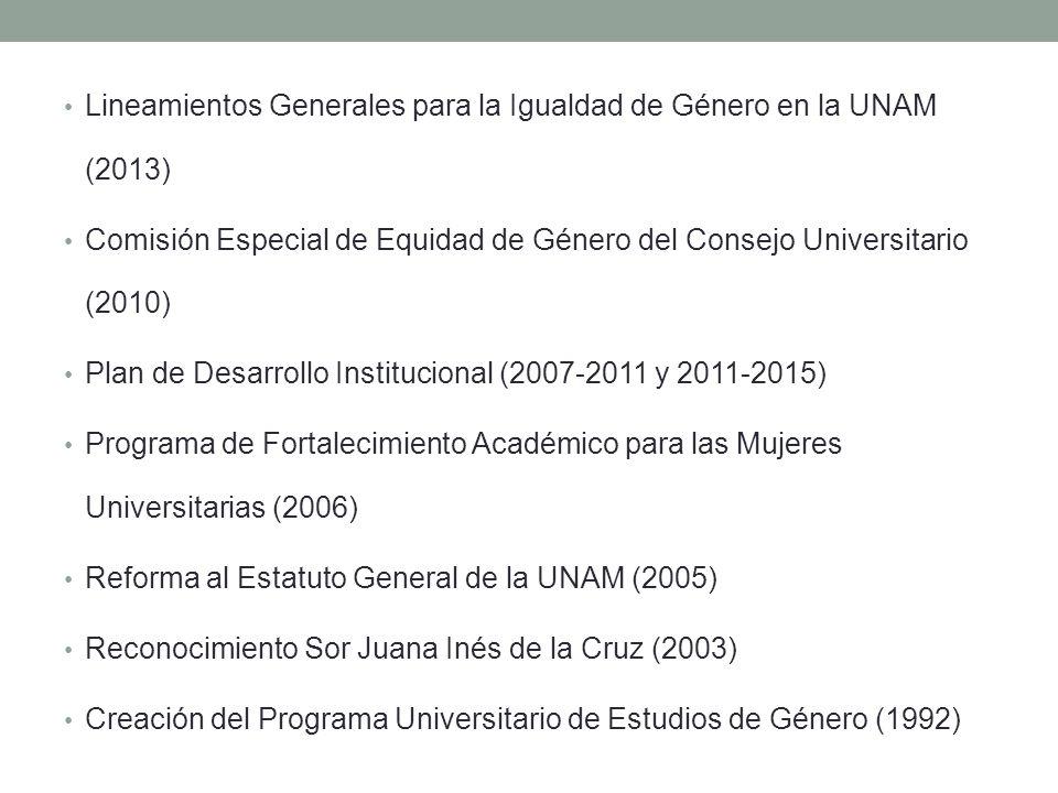 Lineamientos Generales para la Igualdad de Género en la UNAM (2013)