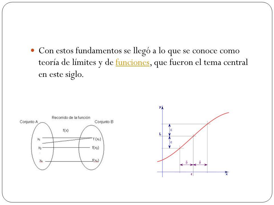 Con estos fundamentos se llegó a lo que se conoce como teoría de límites y de funciones, que fueron el tema central en este siglo.