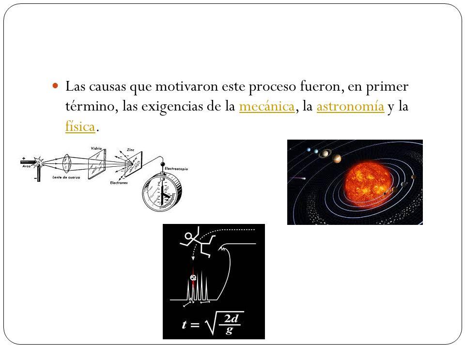Las causas que motivaron este proceso fueron, en primer término, las exigencias de la mecánica, la astronomía y la física.