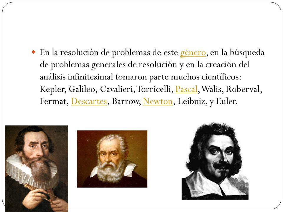 En la resolución de problemas de este género, en la búsqueda de problemas generales de resolución y en la creación del análisis infinitesimal tomaron parte muchos científicos: Kepler, Galileo, Cavalieri, Torricelli, Pascal, Walis, Roberval, Fermat, Descartes, Barrow, Newton, Leibniz, y Euler.