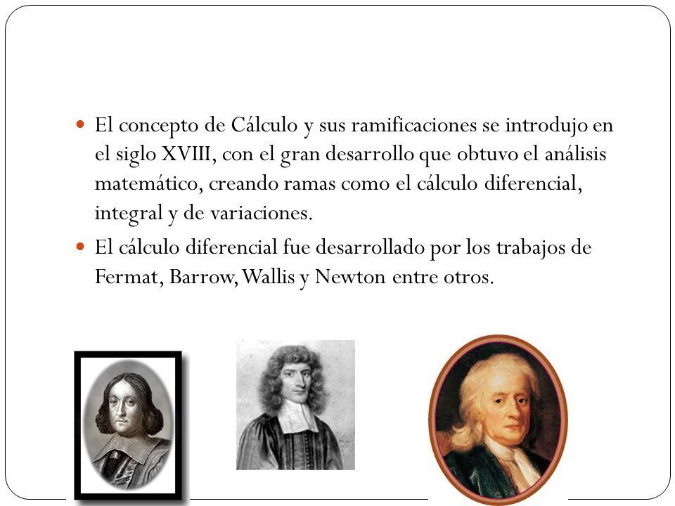 El concepto de Cálculo y sus ramificaciones se introdujo en el siglo XVIII, con el gran desarrollo que obtuvo el análisis matemático, creando ramas como el cálculo diferencial, integral y de variaciones.