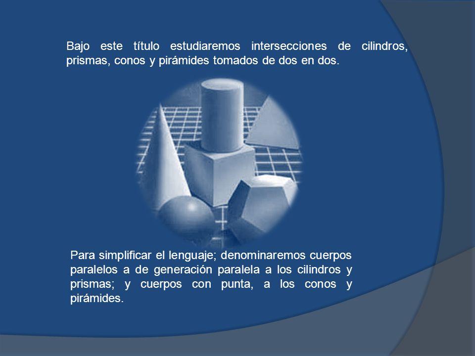 Bajo este título estudiaremos intersecciones de cilindros, prismas, conos y pirámides tomados de dos en dos.