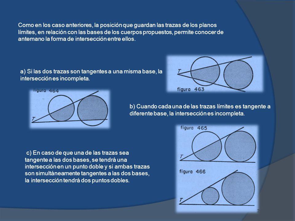 Como en los caso anteriores, la posición que guardan las trazas de los planos límites, en relación con las bases de los cuerpos propuestos, permite conocer de antemano la forma de intersección entre ellos.