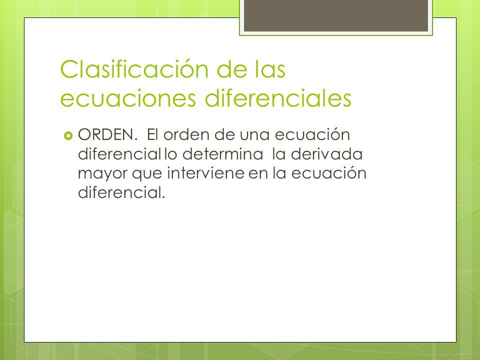 Clasificación de las ecuaciones diferenciales