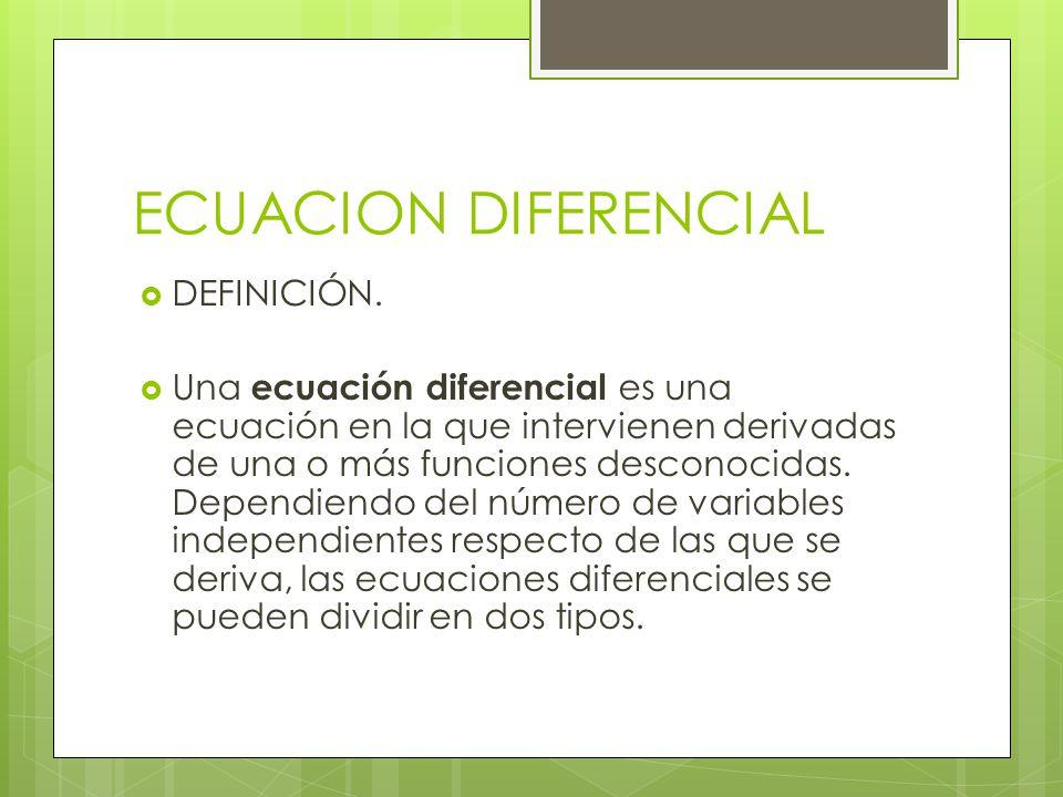 ECUACION DIFERENCIAL DEFINICIÓN.