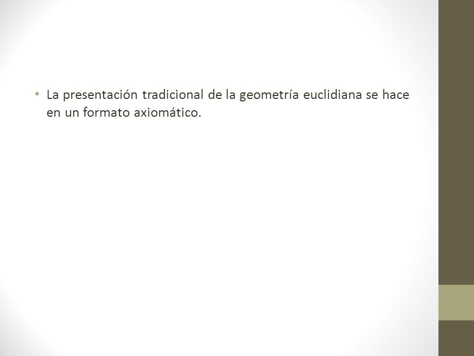 La presentación tradicional de la geometría euclidiana se hace en un formato axiomático.