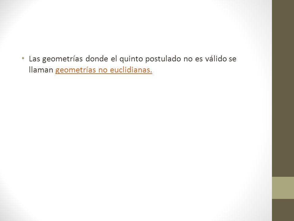 Las geometrías donde el quinto postulado no es válido se llaman geometrías no euclidianas.
