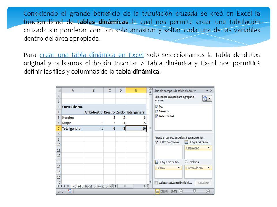Conociendo el grande beneficio de la tabulación cruzada se creó en Excel la funcionalidad de tablas dinámicas la cual nos permite crear una tabulación cruzada sin ponderar con tan solo arrastrar y soltar cada una de las variables dentro del área apropiada.