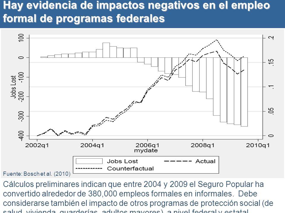 Hay evidencia de impactos negativos en el empleo formal de programas federales
