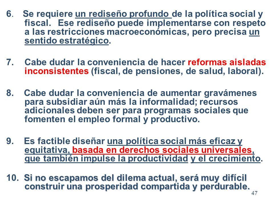 6. Se requiere un rediseño profundo de la política social y fiscal