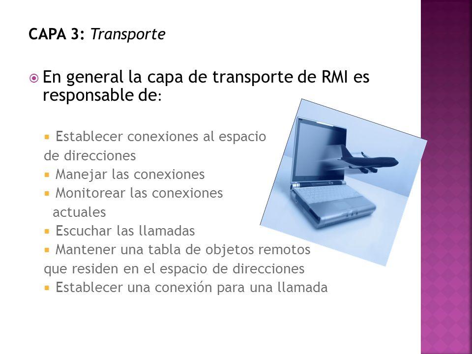 En general la capa de transporte de RMI es responsable de: