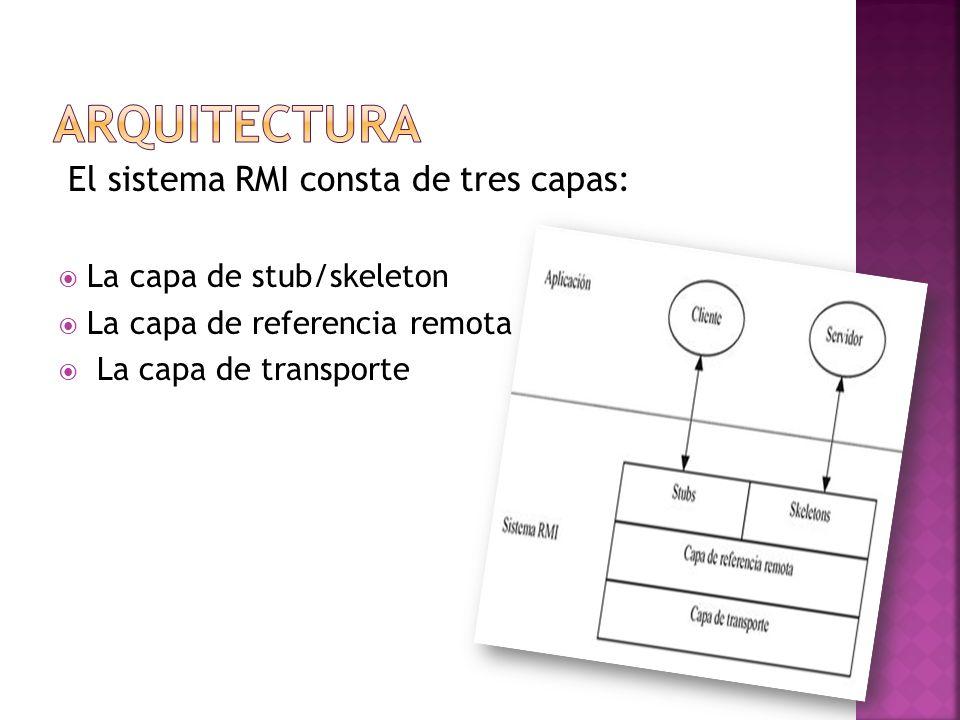 ARQUITECTURA El sistema RMI consta de tres capas: