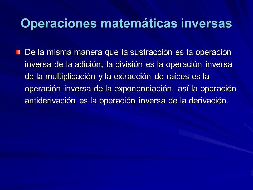 Operaciones matemáticas inversas